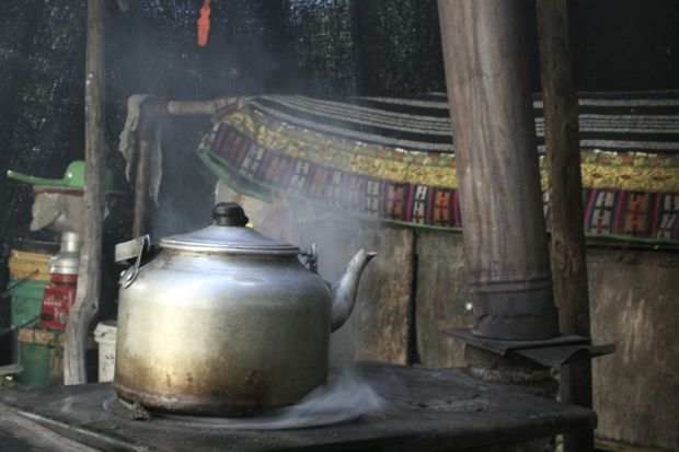 Making tea in the yurt