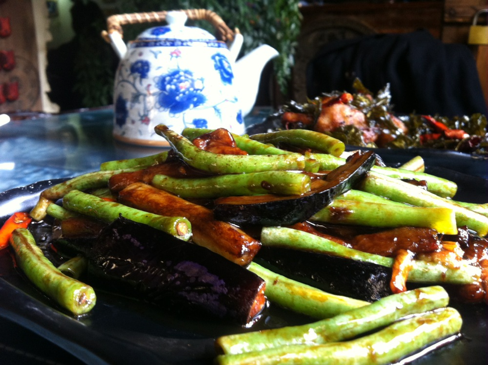 This is a Yunnan version of aubergine and green beans.