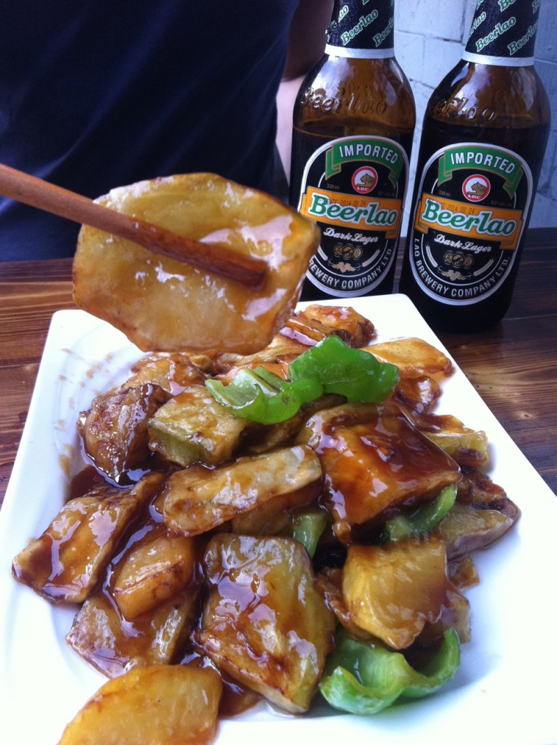 One of our favourite Potato and eggplant Beijing dishes. In our local dumpling place. Oh and those Laos beers were so good!